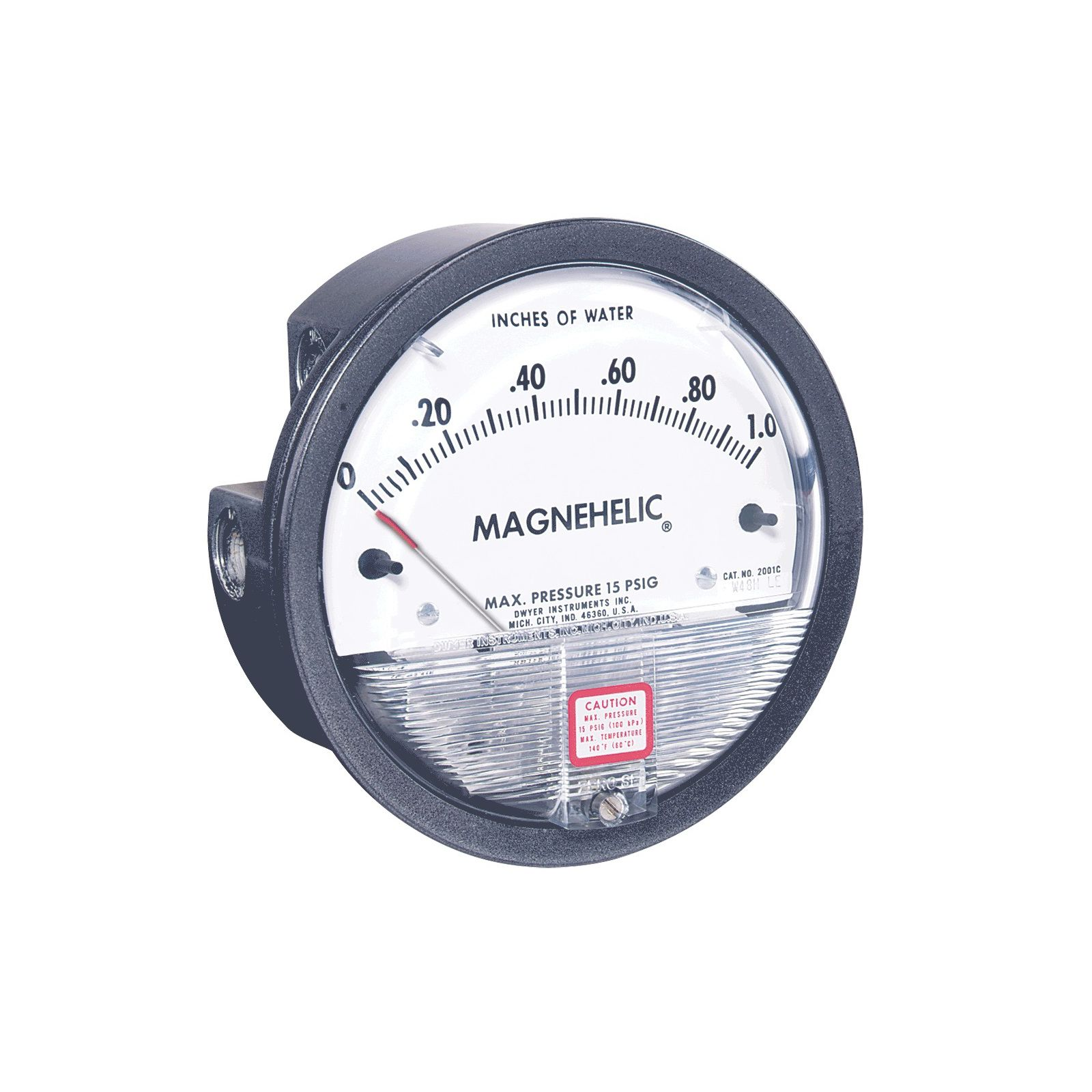 "Dwyer 2001 - Series 2000 Magnehelica® Differential Pressure Gauge, Range 0 To 1"" W.C, Minor Divisions .02"