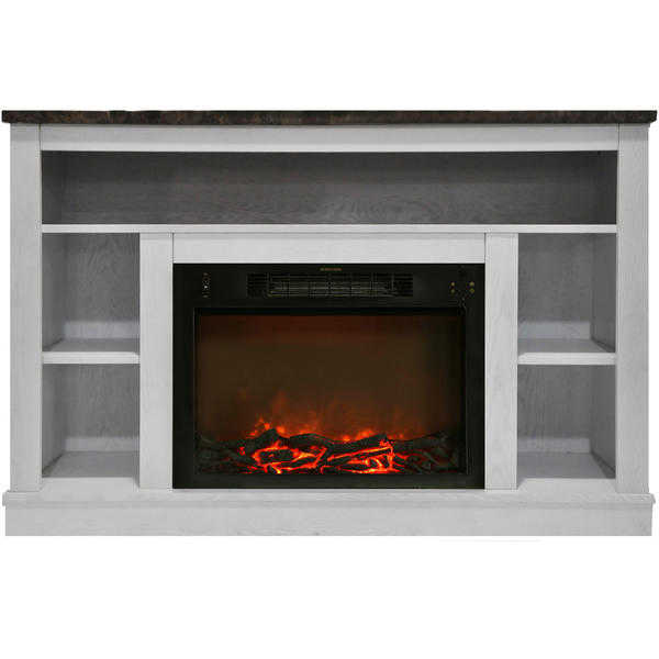 Cambridge Seville Fireplace Mantel with Electronic Fireplace Insert, White