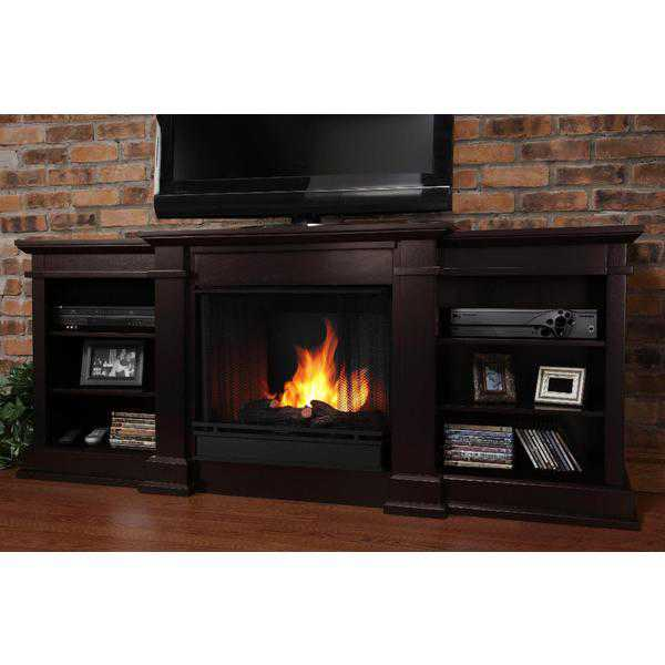 Real Flame Fresno Ventless Gel Fireplace in Dark Walnut 29Hx72Wx19D