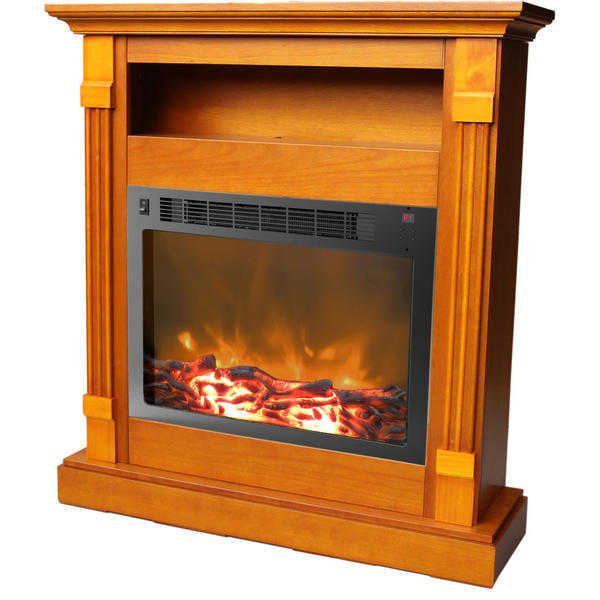 Cambridge Sienna Fireplace Mantel with Electronic Fireplace Insert, Teak