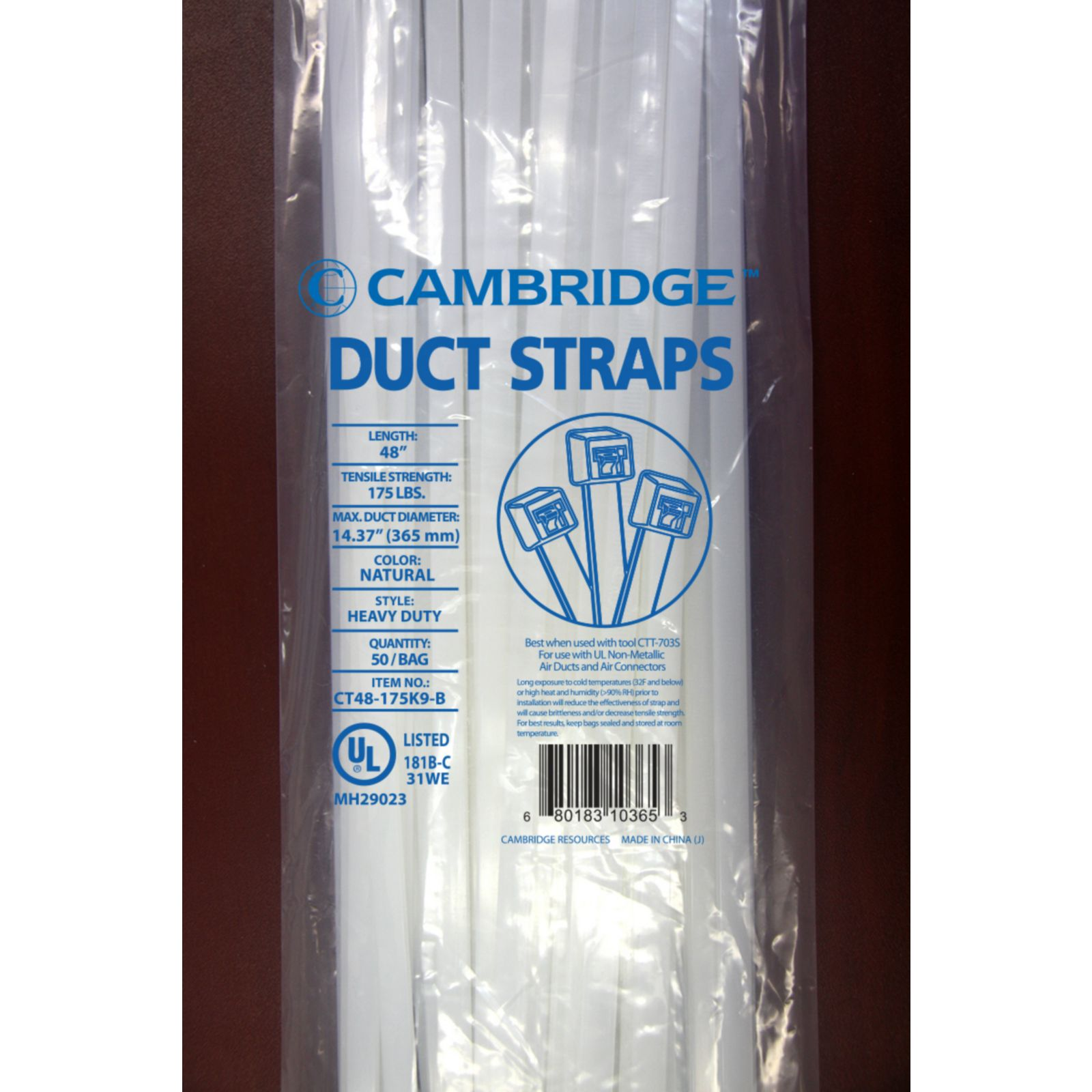 "Cambridge CT48175K0WB - 48"" Heavy-Duty Cable Ties, 174 lb. Tensile Strength, UV Black, 50 Pack"