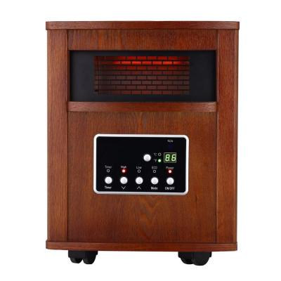 1500-Watt Large Room Infrared Quartz Heater with Wood Cabinet and Remote